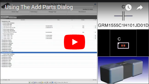 Using The Add Parts Dialog