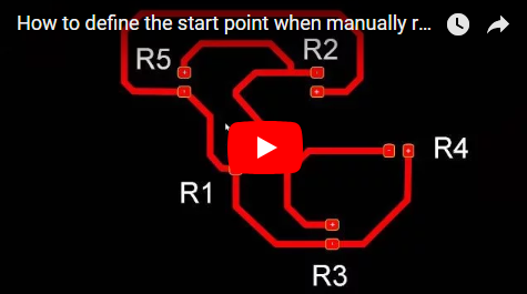 How to define the start point when manually routing a PCB