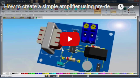 How to create a simple amplifier using pre-designed circuits.