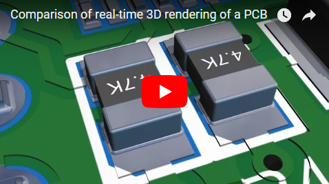 Comparison of real-time 3D rendering of a PCB